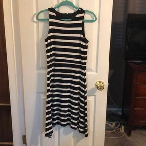 Black and white striped Ann Taylor jersey dress